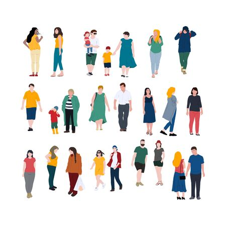 People in different poses flat style illustrations. Family with children, men and women of various age. Stock vector Ilustração