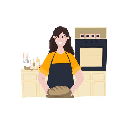 Woman holds ready-made bread in her hands. Home baking, cooking homemade bread. Cartoon hand drawn doodle style concept
