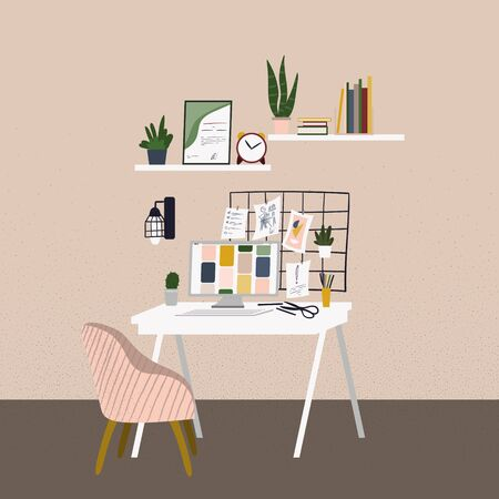 Flat cartoon workplace at home office. Workspace with minimalist decor elements. Scandinavian style modern stylish interior. Vector Illustration