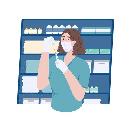 Nurse in a protective face mask draws medicine into a syringe. Medical staff in the office. Vaccination and treatment. Concept illustration for website, magazine, poster, banner. Stock vector