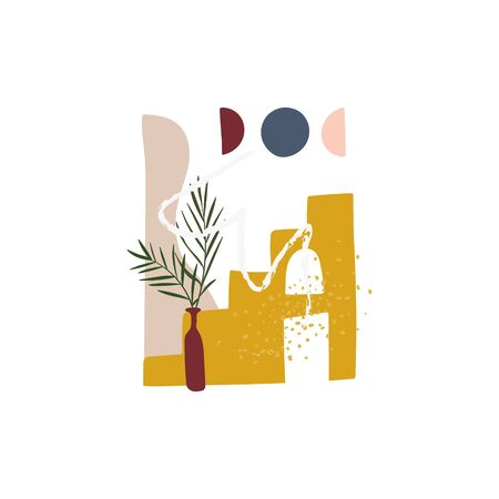 Abstract art with palm leaves in vase and building in the desert. Hand drawn lines and shapes. Wall decor, poster, banner, print for t-shirt etc. Stock vector