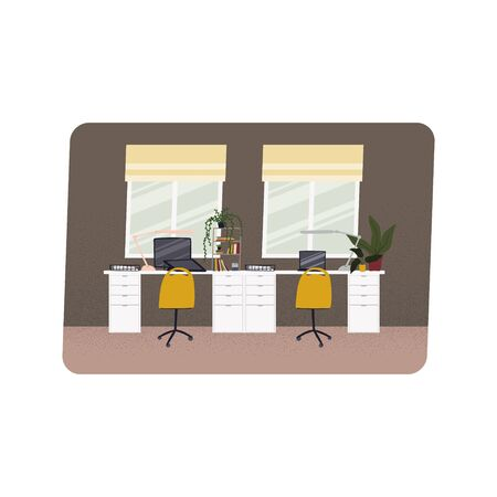 Home office hand drawn flat style vector illustration. Desk for two work spaces. Freelancer work place. Stock vector