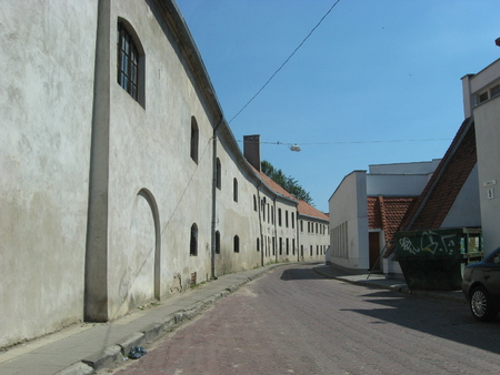 crannied: Walk along the street in Vilnius old town, Lithuania.
