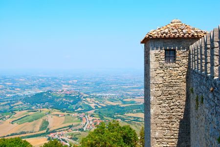 Mountains in the Republic of San Marino. View from the castle tower on the mountain. Valley, Italian haze photo