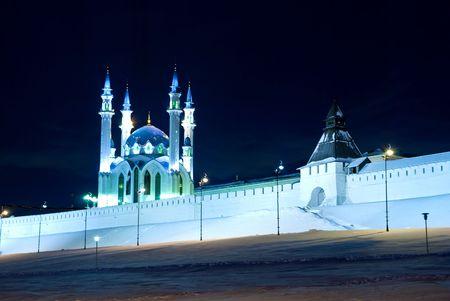 kazan: Kazan Kremlin and mosque Kul-Sharif evening illumination.