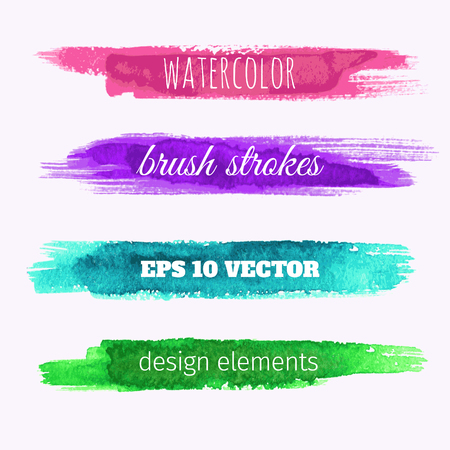 Set of vector watercolor paint texture banners