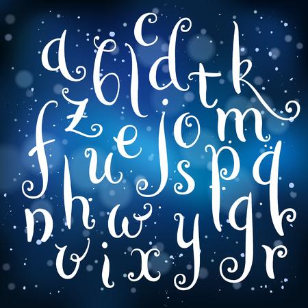 Fairytale hand drawn alphabet on light background Illustration