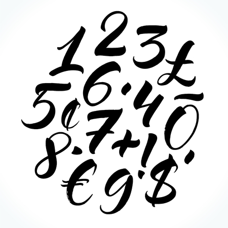 Brush lettering numbers, punctuation and currency symbols. Modern calligraphy, handwritten letters, Vector illustration.