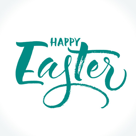 Happy Easter lettering. Template for banner, flyer, gift card or photo overlay. Dry brush handwritten modern calligraphy, vector illustration. Illustration
