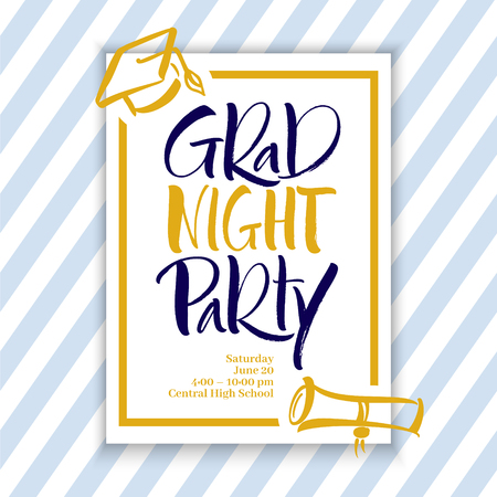 Grad Night Party Hand Lettering Vectores
