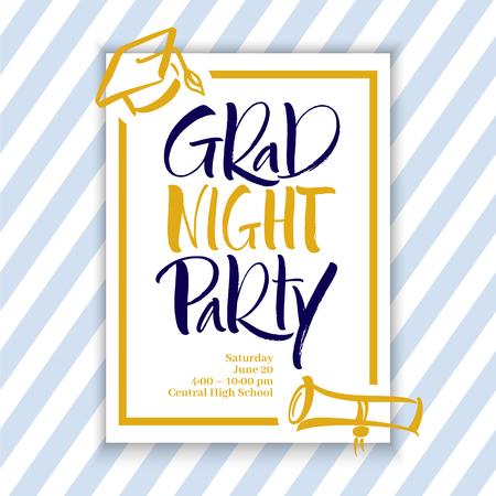 Grad Night Party Hand Lettering Illustration
