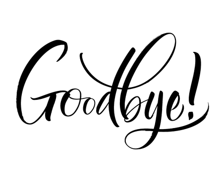 Goodbye Lettering on white background illustration. Vettoriali