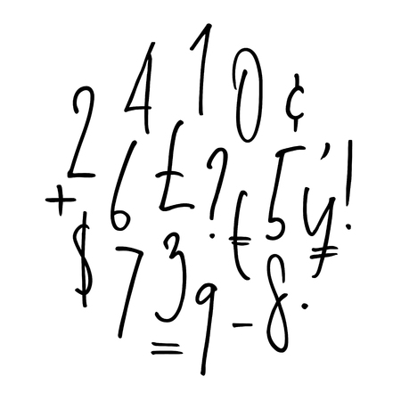 Ballpen lettering numbers, punctuation, currency