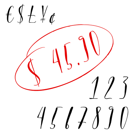 Pen lettering numbers and currency symbols