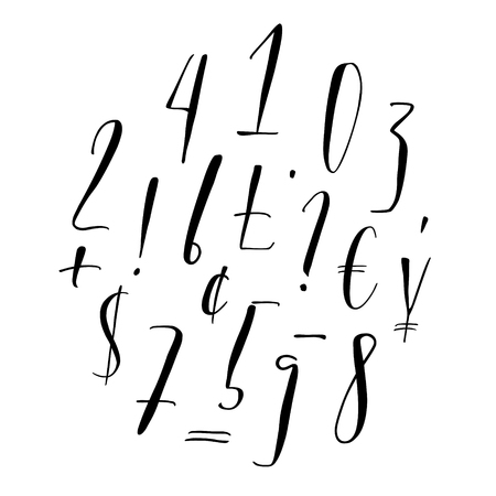 Pen lettering numbers, punctuation, currency