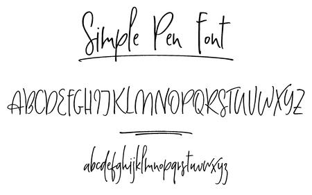 Ballpen lettering vector alphabet
