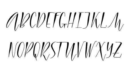 Pen handwritten vector alphabet. Modern calligraphy, uppercase letters. Vector illustration