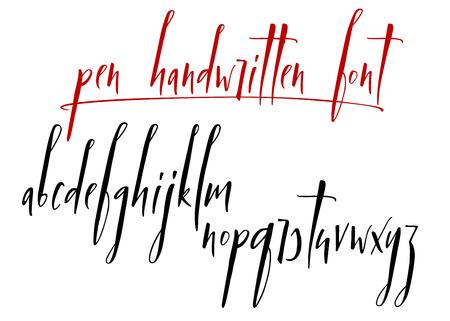 Pen handwritten vector alphabet. Modern calligraphy, lowercase letters. Vector illustration Ilustrace