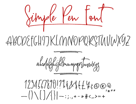 Ballpen lettering vector alphabet with numbers and punctuation. Modern calligraphy, handwritten letters. Vector illustration Ilustrace