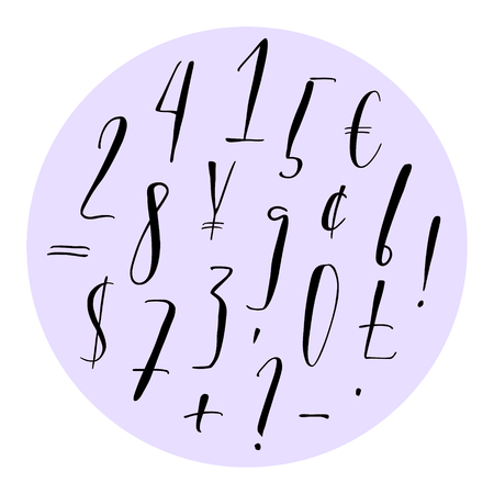 Pen lettering numbers, punctuation and currency symbols. Modern calligraphy, handwritten letters. Vector illustration