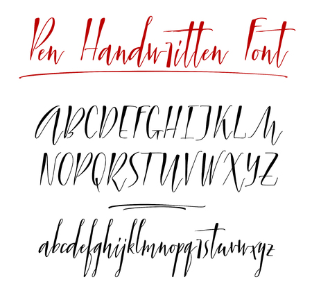 Pen lettering vector alphabet Ilustrace