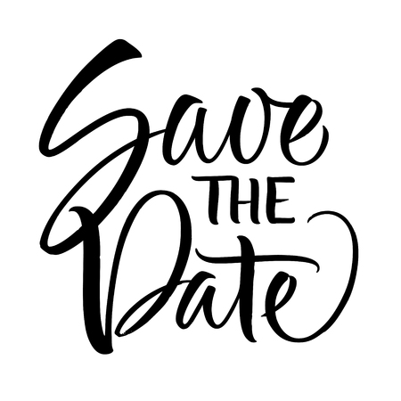 Save the Date lettering. Handwritten modern calligraphy, brush painted letters. Vector illustration. Template for poster, flyer, greeting card, invitation and various design products Ilustrace
