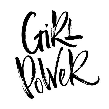 Girl Power lettering. Handwritten modern calligraphy, brush painted letters. Vector illustration. Template for T-shirt, decor, greeting card, poster or photo overlay