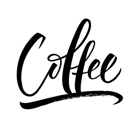 Coffee lettering. Handwritten modern calligraphy, brush painted letters. Vector illustration. Template for poster, flyer, greeting card, invitation and various design products