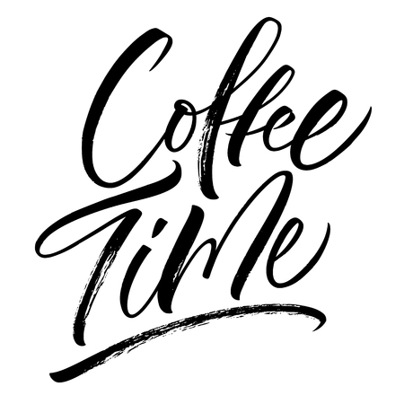 Coffee Time lettering. Handwritten modern calligraphy, brush painted letters. Vector illustration. Template for poster, flyer, greeting card, invitation and various design products