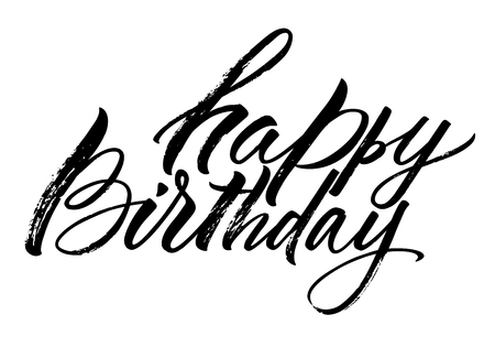 Happy Birthday lettering. Handwritten modern calligraphy, brush painted letters. Vector illustration. Template for greeting card, poster, logo, badge, icon, banner tag