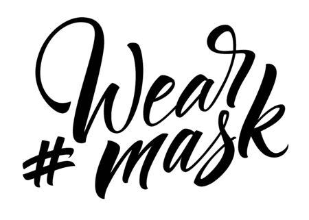 Wear Mask hashtag lettering 向量圖像