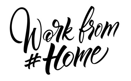 Work From Home hashtag lettering