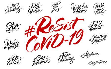 Resist COVID-19 hashtag lettering set