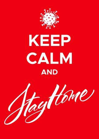 Keep Calm and Stay Home Coronavirus Poster 向量圖像