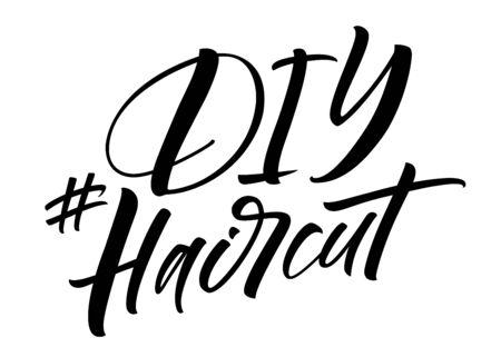 DIY Haircut hashtag lettering 向量圖像