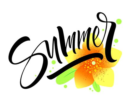 Summer lettering with flowers