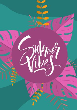 Abstract summer background with palm leaves and hand lettering. Template for social media stories design, banner, greeting card, poster and advertising. Vector illustration