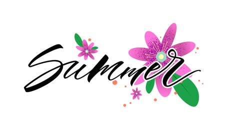 Summer lettering with flowers. Handwritten modern calligraphy, brush painted letters. Vector illustration. Template for banner, poster, flyer, greeting card, web or social media design