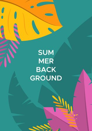 Abstract summer background with palm leaves and space for text. Template for social media stories design, banner, greeting card, poster and advertising. Vector illustration