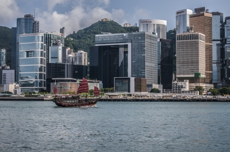 magnificent skyscrapers of hong kong along victoria harbor