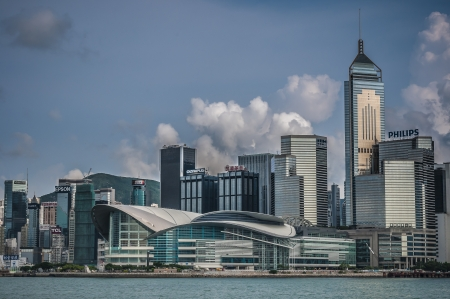 magnificent skyscrapers of hong kong along victoria harbor