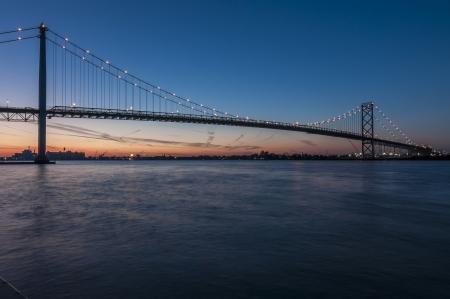 Ambassador bridge windsor ontario canada at dusk