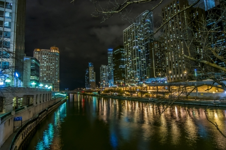 Downtown Chicago by the River at night