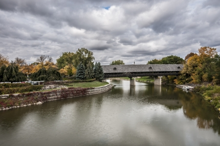Frankenmuth Michigan covered bridge in overcast day