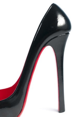 high heel shoe as wine rack ornaments Stock Photo
