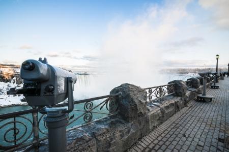 Eye over niagara falls during winter time photo