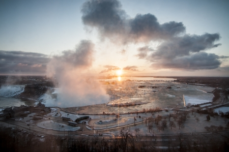 niagara falls early in the morning sunrise photo