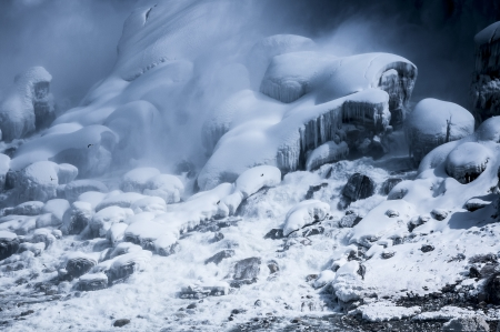 snowy landscape at niagara falls on winter time Stock Photo