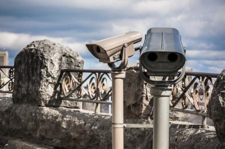 Viewing binocular on an overcast day during winter season photo