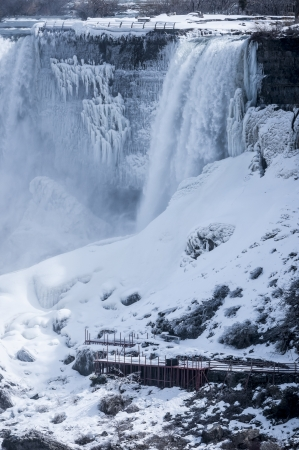 American falls covered with snow during winter photo